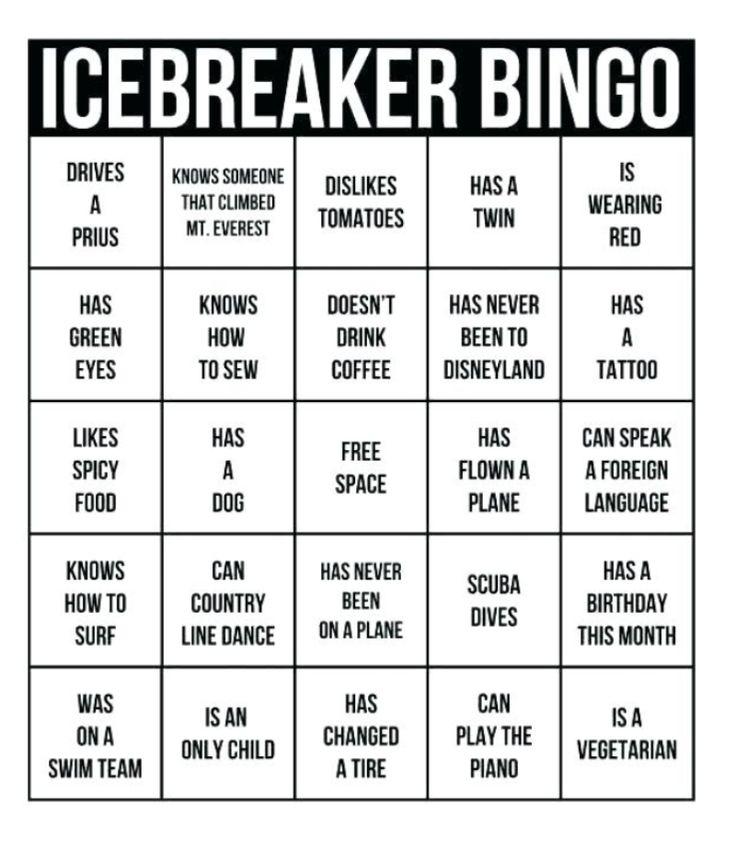 Sample Human Bingo Grids For Team Building Teambonding Ice Breaker Games Ice Breaker Bingo Team Building Activities