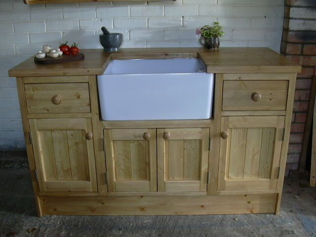 3 Solid Pine Freestanding Kitchen Units   Belfast Sink