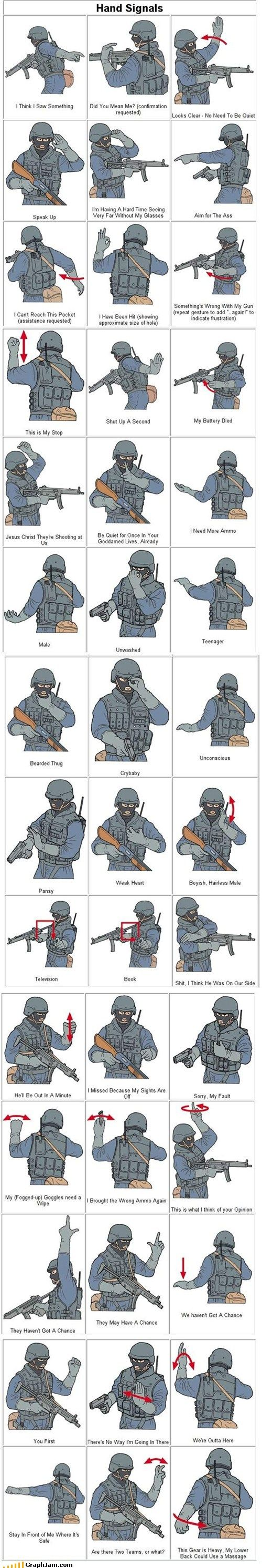 SWAT hand signals. Knowing these will come in handy when Lara finds some of her friends/rescues Sam and they need to find a way to communicate an escape strategy without alerting the scavengers to their location.
