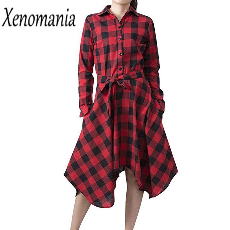 Plaid Dress Autumn Winter Christmas Dress Women Plus Size 2017 Vestidos Cheap Clothes China Robe Femme Sexy Vintage Dresses Cute
