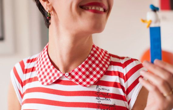 Red gingham 100 cotton Peter Pan collar with by TresChouetteLondon