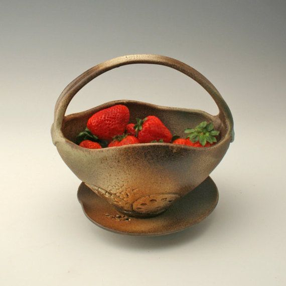 rustic berry bowl ceramic colander pottery by potterybyshikha