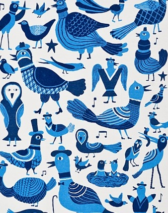 Song Birds Tea Towel - Finland                       by Kauniste Laululinnut