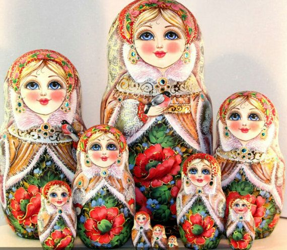 Traditional Russian wood toy hand painted curved wood, nested doll and stacking doll. Original dolls Winter Tale 10 psc.