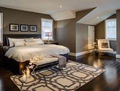 Bedroom Ideas - wall colour (BM Rockport Gray) with dark furniture and white accents. Love the rug