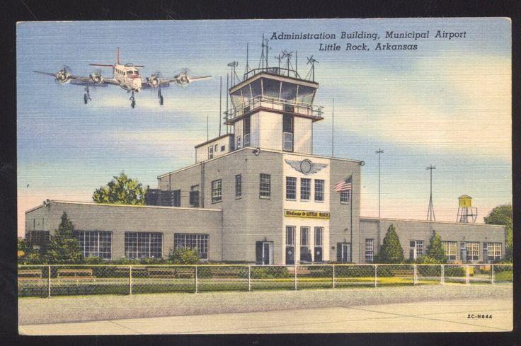 LITTLE ROCK ARKANSAS MUNICIPAL AIRPORT AVIATION ANTIQUE VINTAGE POSTCARD 1938