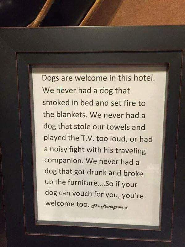 Sign in dog friendly hotel.