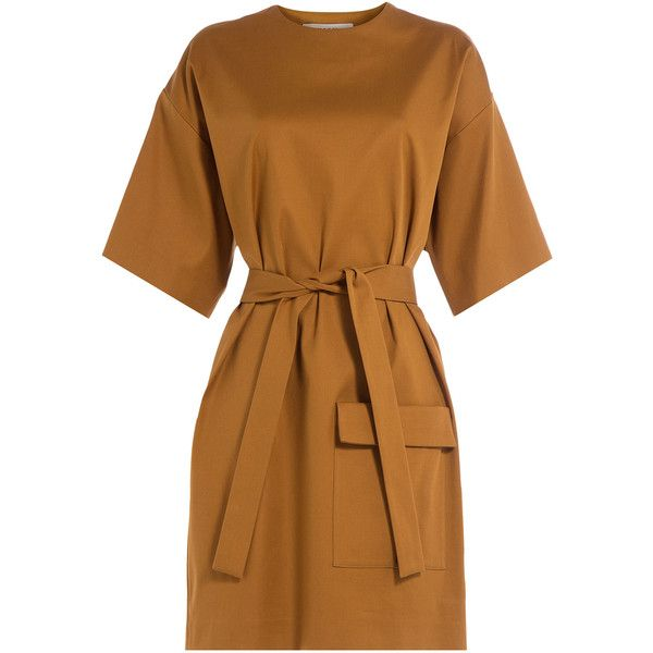 MSGM Cotton-Blend Dress ($345) ❤ liked on Polyvore featuring dresses, camel, retro dress, slim fit dress, cotton blend dresses, safari dress and camel dress