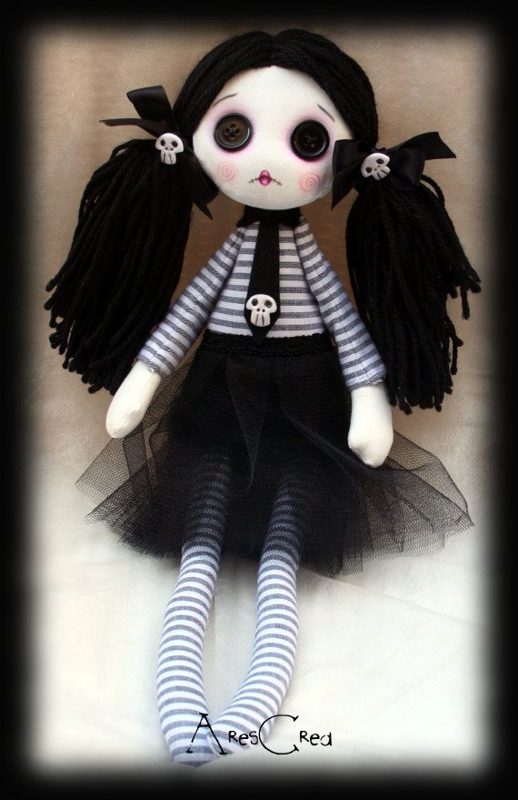 Velenia handmade creepy cute zombie goth cloth doll with big black button eyes…