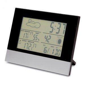 Horloge de bureau et station météo   Affichage LCD : taux d'humidité, température, heure/alarme et calendrier.  4 piles AAA non incluses.