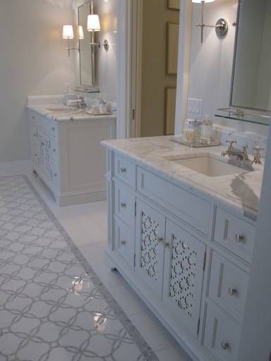 Master bath ideas | Phoebe Howard - Stunning ensuite with marble tiles floor with marble mosaic inset tiles, ...