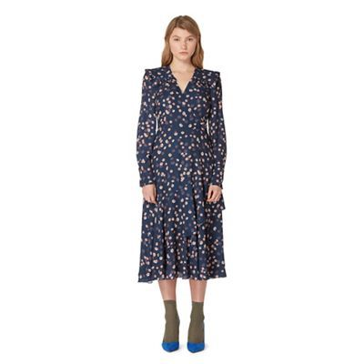 Studio by Preen Navy daisy print frilled yoke dress | Debenhams