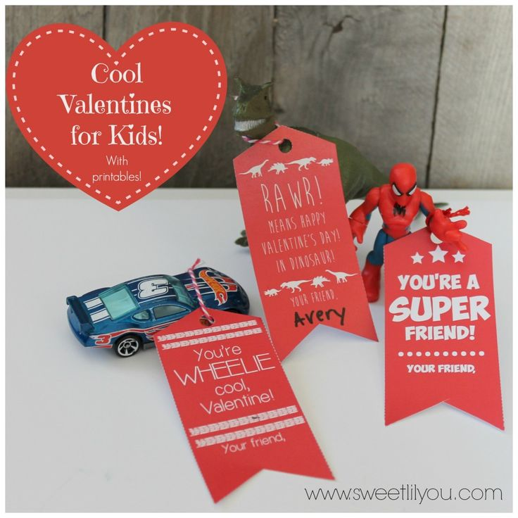 Cool Valentines for Kids! Dinosaurs Super heroes and Race cars! With FREE Printable tags! Valentines for Boys! Valentine Printables!