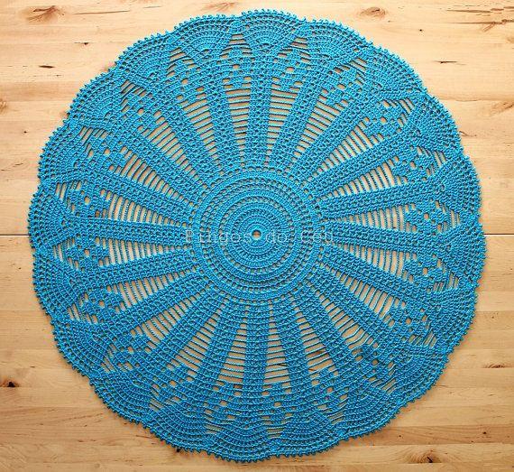 Blue Doily  Crochet  Home Decor  Beach House Decor  by pingosdoceu