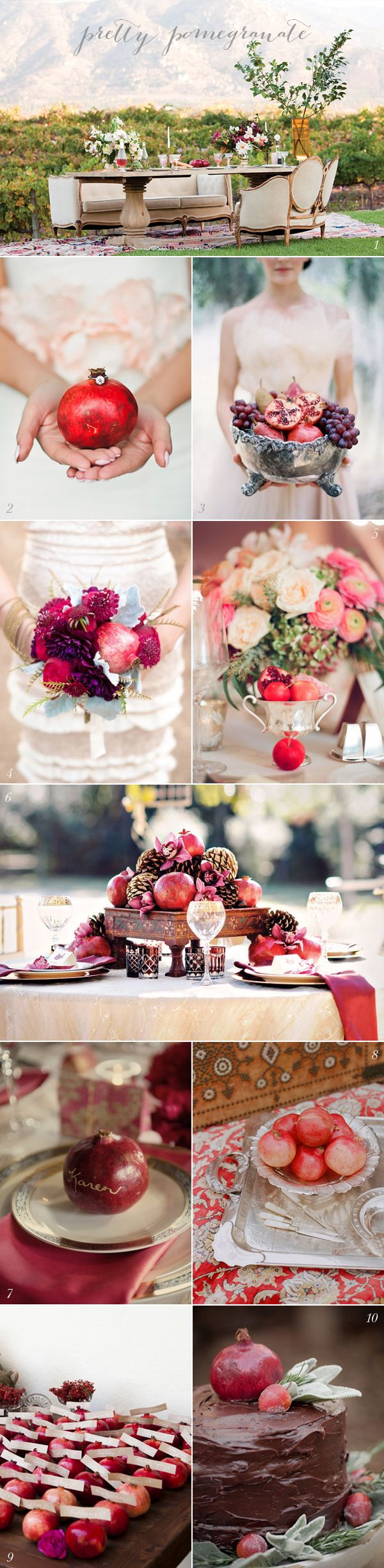 Pomegranate Wedding Ideas | via elizabethannedesigns.com
