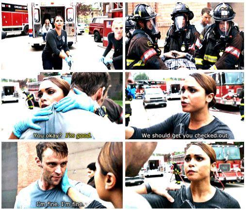 Dawson: You okay? Casey: I'm good. Dawson: We should get you checked out. Casey: I'm fine I'm fine. (5x04)