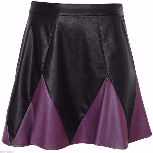 Purple and Black Leather Look Skirt ❤ liked on Polyvore featuring skirts, fake leather skirt, leather look skirt, faux leather skirt, purple skirt and vegan leather skirt