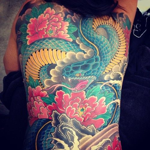 43 Japanese Peony Tattoos Collection: 76 Best Images About Hebi Tattoo On Pinterest