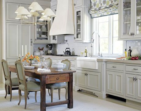 : Kitchens Design, Rustic Table, Small Kitchens, Dining Chairs, Kitchens Ideas, Window Treatments, Farms Tables, Dining Tables, White Kitchens