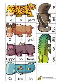 Méli Mélo des Animaux . Puzzle que les enfants mettent ensemble et ensuite copient les noms dans leur cahier. Ils peuvent faire des phrases HugoLescargot.com