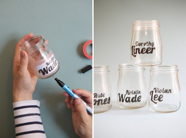 Tape the fonts inside the jar then paint with a paint pen. Why have I never seen this!!!