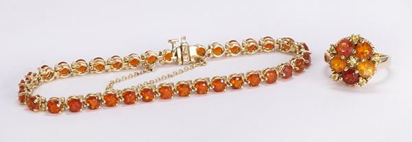 Fire opal and 14k yellow gold jewelry suite - Price Estimate: $400 - $600