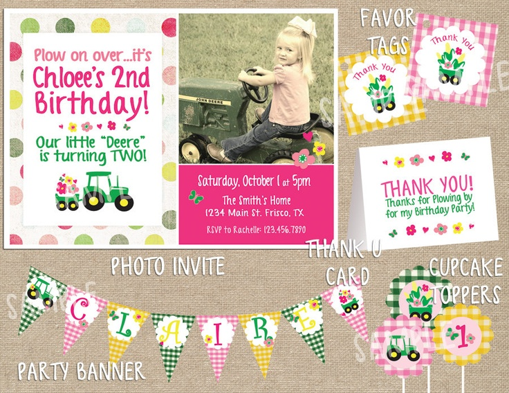 Best Tractor John Deere Inspired Images On Pinterest Farm - John deere 2nd birthday party invitations