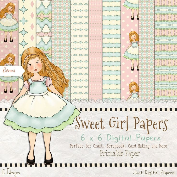 Sweet Girl Paper, Girl paper, Old fashion Paper, 6x6 paper, Printable paper, Instant Download, Scrapbook Paper, Paper Pack by JustDigitalPapers on Etsy
