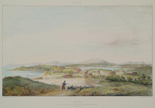 Άποψη της Γαρίτσας, περιοχής έξω από το βόρειο τείχος της Κέρκυρας, στην οποία σύμφωνα με την παράδοση βρίσκονταν οι κήποι του Αλκίνοου, βασιλιά των Φαιάκων. - REY, Etienne - ME TO BΛΕΜΜΑ ΤΩΝ ΠΕΡΙΗΓΗΤΩΝ - Τόποι - Μνημεία - Άνθρωποι - Νοτιοανατολική Ευρώπη - Ανατολική Μεσόγειος - Ελλάδα - Μικρά Ασία - Νότιος Ιταλία, 15ος - 20ός αιώνας