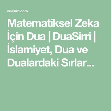 Matematiksel Zeka İçin Dua   DuaSirri   İslamiyet, Dua ve Dualardaki Sırlar...