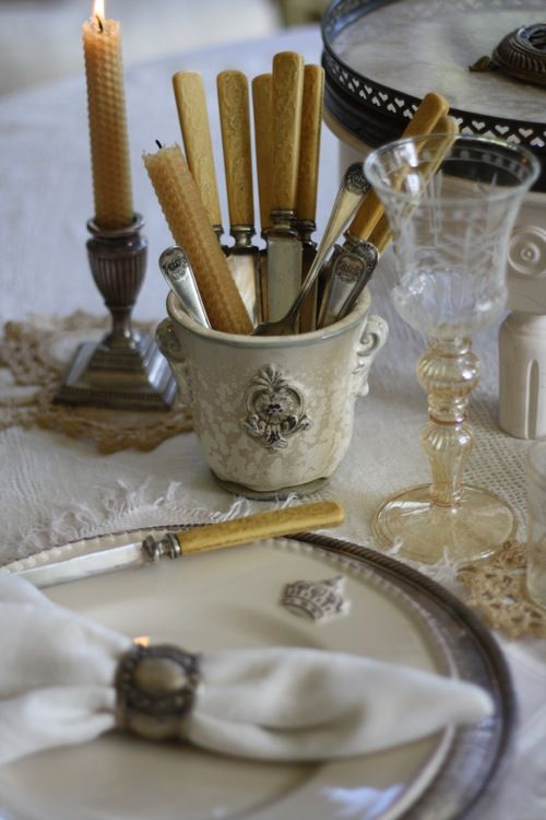 Beeswax candles and bone handled knives
