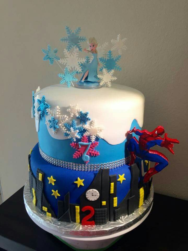 Frozen Spiderman Cakes Kids 10 Birthday Cake Twin