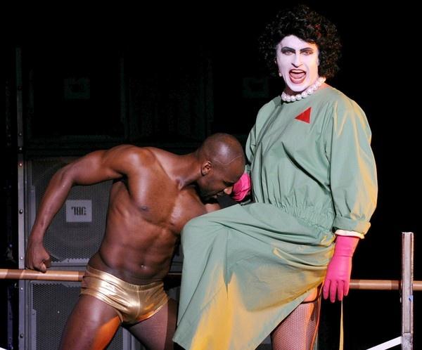 "Dancer Khasan Brailsford, left, as Rocky Horror and ""Nip/Tuck"" star Julian McMahon, who played Dr. Frank-N-Furter."