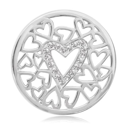 Nikki Lissoni Surrounded By Hearts Coin (medium, silver tone, clear Swarovski® Elements)