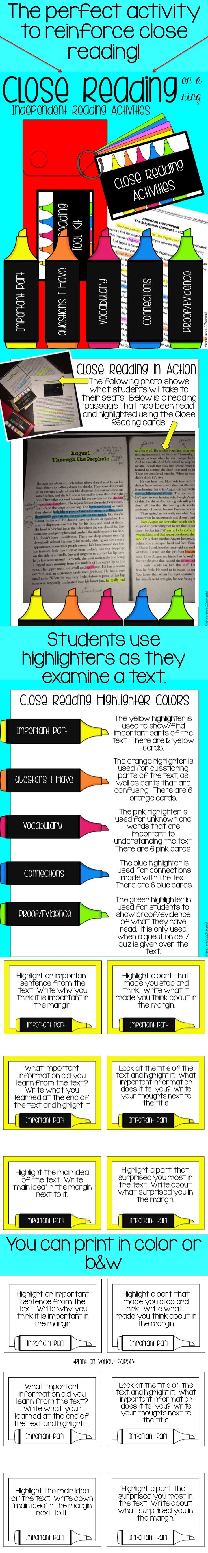 The perfect activity to  reinforce close reading!