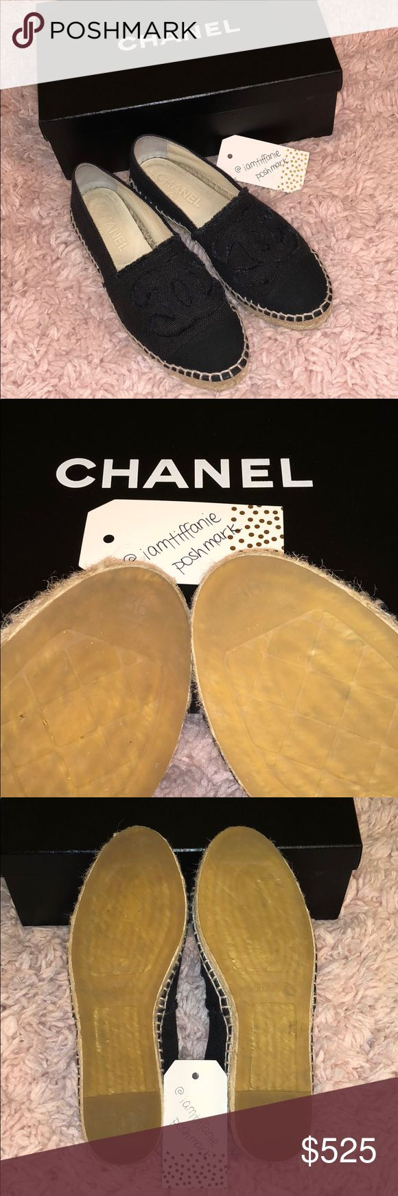 CHANEL ESPADRILLES AUTHENTIC, Black Canvas, size 36. Worn a handful of times, in great condition. Originally purchased at NM for $525 +tax, receipt as shown (will be keeping). Priced according to current resale rate. NO TRADES.  The price is FIRM. CHANEL Shoes Espadrilles