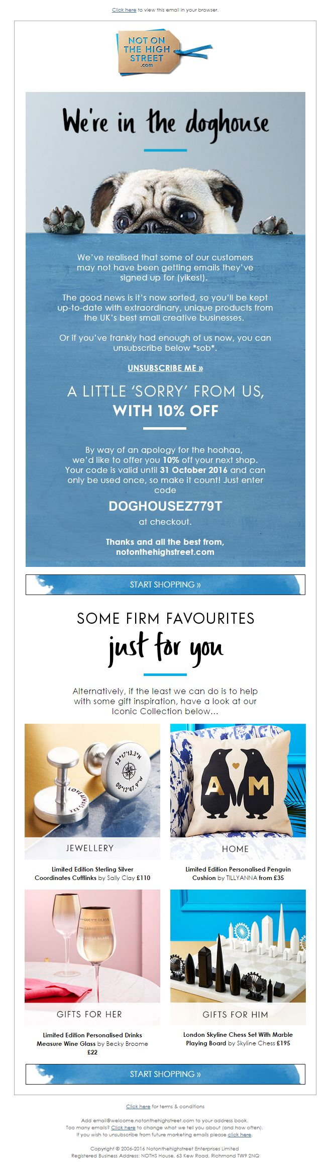 25 unique apology gifts ideas on pinterest ways to say sorry apology email from not on the highstreet including 10 off discount code emailmarketing ccuart Choice Image