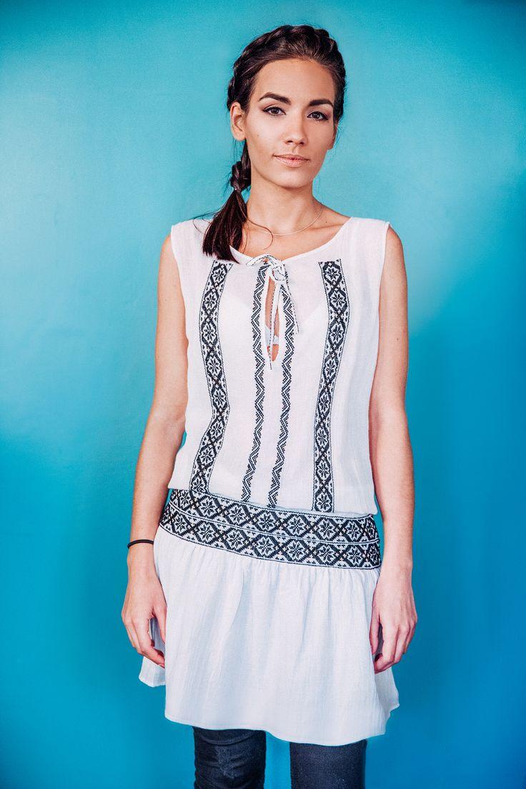 100% handmade Romanian dress, embroidered with black thread and golden silk fibre. Price: 600 lei (140 EUR) Details on:  facebook.com/singularRO singularwear@yahoo.com #readytowear #dress #romanianpatterns #limitededition