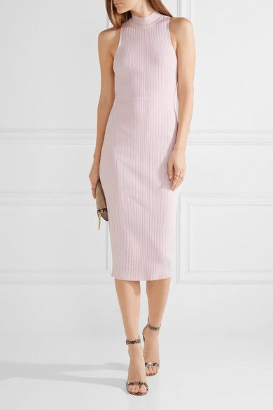 Cushnie et Ochs - Lace-up Ribbed Stretch-knit Midi Dress - Baby pink -