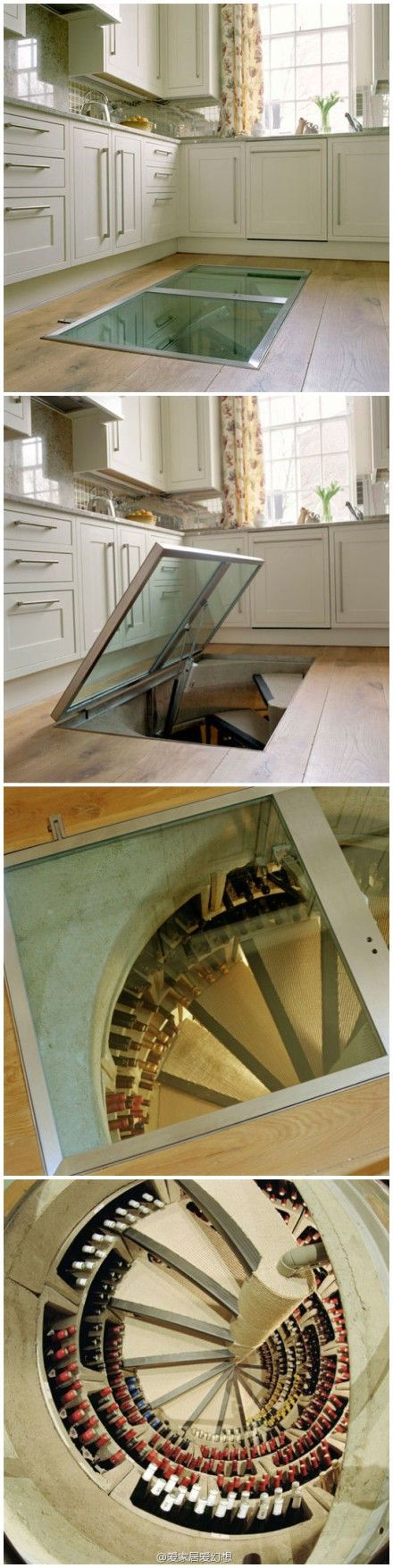 Idée pour le vin?  Une cave à vin directement sous votre cuisine facile d'accès.