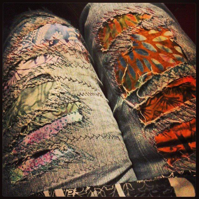Instead of patching my work jeans with simple boring old patches, I broke out my batik scraps and backed them with a heavier fabric (inside the jean) and went freeform stitching crazy! Want me to make your jeans happy too? Custom orders welcome my loves...Yay! Repin to save!