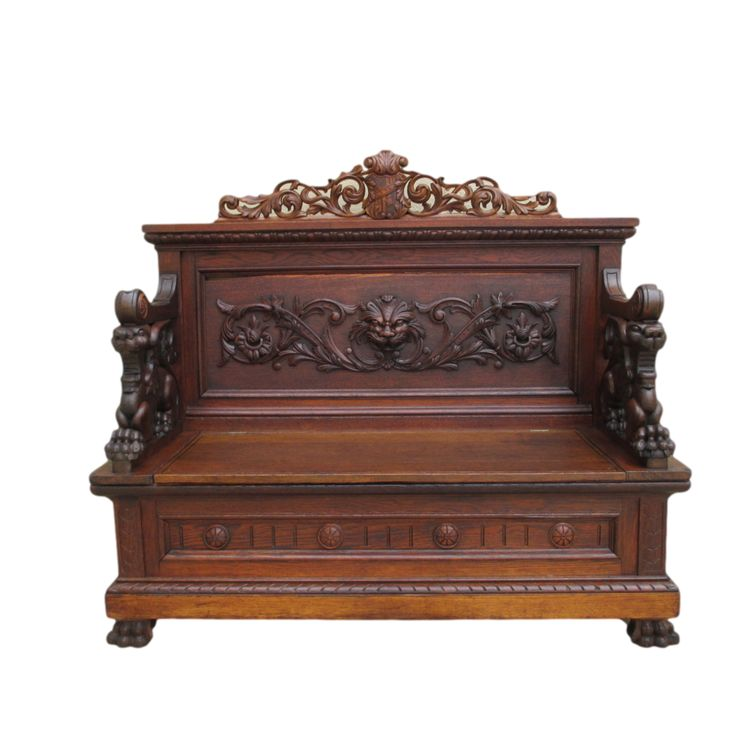 French Antique Gothic Carved Oak Griffin Bench Antique Furniture .