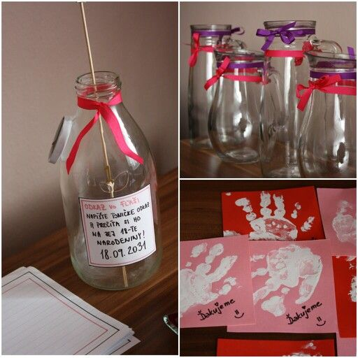 First birthday party - messages in the bottle, which will be read on the celebration of 18th birthday :) and thank you cards with handprint of the baby