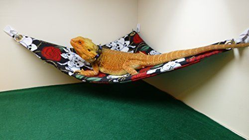 Hammock for Bearded Dragons, Skulls and Roses fabric with suction cup hooks