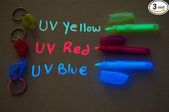 Set Of 3 Invisible Uv Blacklight Ink Marker Blue Red Yellow With
