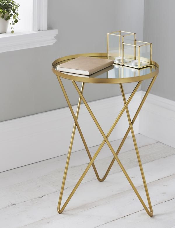 Gold Hairpin Leg Side Table Gold Side Table Side Table Round Metal Table