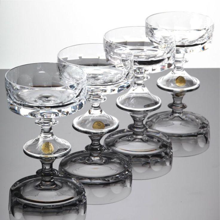 4 Sektschalen WMF Bleikristall Alexandra 60er Jahre Sektgläser Champagnerschalen