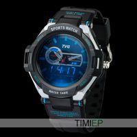 Tvg hombres reloj deportivo digital militar del ejército azul LED puntero 30AM impermeable de alarma de vibración del reloj