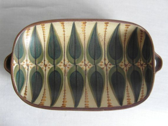 Dybdahl Denmark - big tray with handles - size 1 - handpainted - yellow - Danish pottery - collectible - mid century on Etsy, $207.96