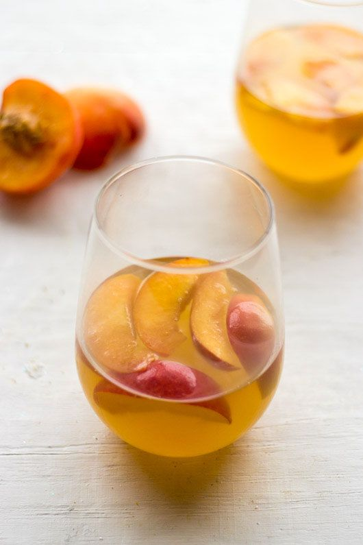 White wine peach honey fig cocktail